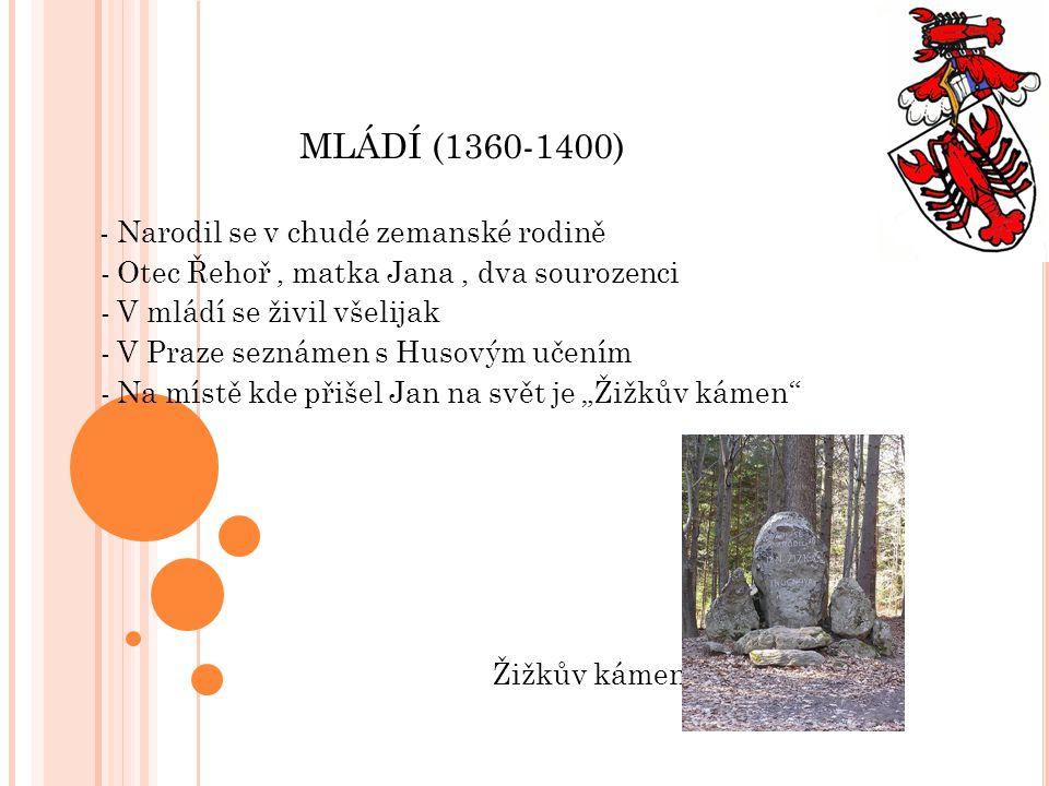 MLÁDÍ (1360-1400) - Narodil se v chudé zemanské rodině - Otec Řehoř, matka Jana, dva sourozenci - V mládí se živil všelijak - V Praze seznámen s Husov
