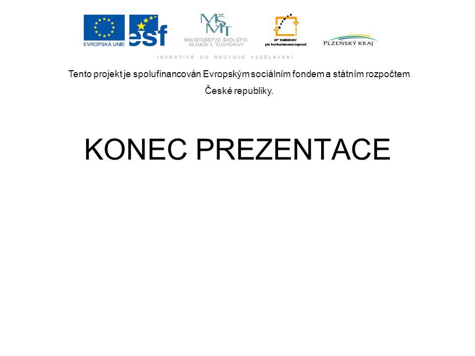 Tento projekt je spolufinancován Evropským sociálním fondem a státním rozpočtem České republiky. KONEC PREZENTACE