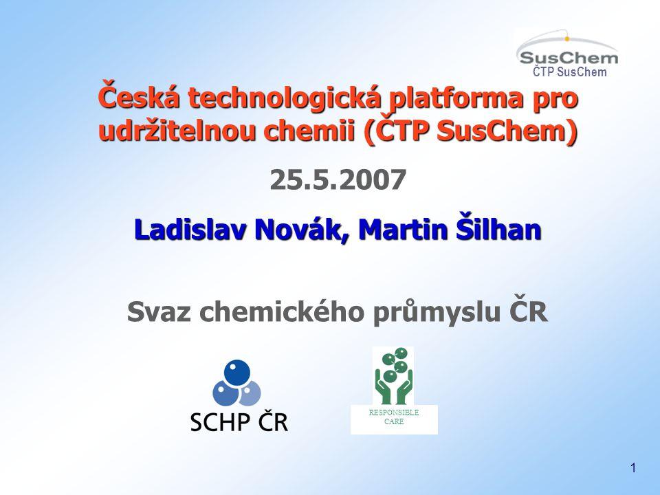 ČTP SusChem 2 Koncept a členové TP Financování TP Česká TP pro udržitelnou chemii, cíle, členové Výstupy ČTP SusChem: VIZE, IAP Proč podporovat transfer technologií.