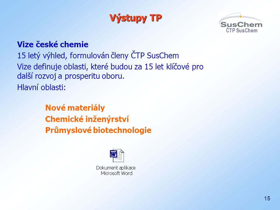 ČTP SusChem 15 Výstupy TP Vize české chemie 15 letý výhled, formulován členy ČTP SusChem Vize definuje oblasti, které budou za 15 let klíčové pro dalš