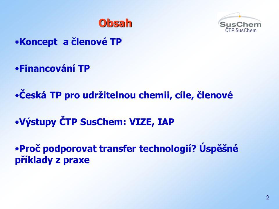 ČTP SusChem 2 Koncept a členové TP Financování TP Česká TP pro udržitelnou chemii, cíle, členové Výstupy ČTP SusChem: VIZE, IAP Proč podporovat transf