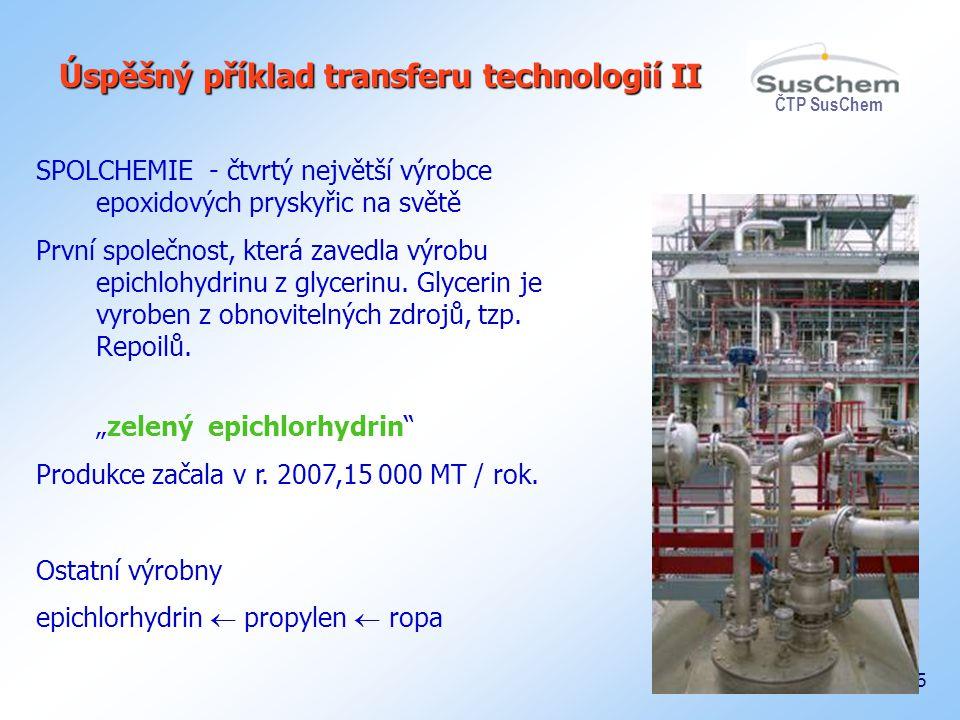 ČTP SusChem 25 Úspěšný příklad transferu technologií II SPOLCHEMIE - čtvrtý největší výrobce epoxidových pryskyřic na světě První společnost, která za