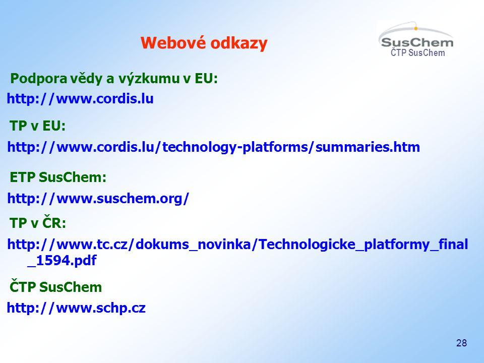 ČTP SusChem 28 Webové odkazy http://www.cordis.lu http://www.cordis.lu/technology-platforms/summaries.htm Podpora vědy a výzkumu v EU: TP v EU: http:/