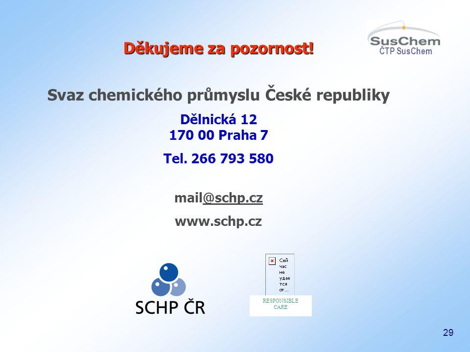 29 Děkujeme za pozornost! Děkujeme za pozornost! Svaz chemického průmyslu České republiky Dělnická 12 170 00 Praha 7 Tel. 266 793 580 mail@schp.cz@sch