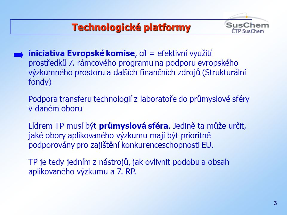 ČTP SusChem 14 Cíle ČTP SusChem a použití výstupů 1.Tvorba dlouhodobé vize a směru výzkumných záměrů ve vzájemné koordinaci s evropským chemickým průmyslem 2.Aktivní účast v evropských technologických platformách a začlenění expertů do pracovních skupin evropské platformy 3.Účast na projektech 6.