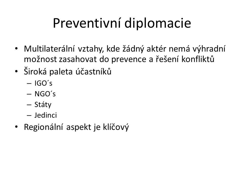 Preventivní diplomacie Multilaterální vztahy, kde žádný aktér nemá výhradní možnost zasahovat do prevence a řešení konfliktů Široká paleta účastníků – IGO´s – NGO´s – Státy – Jedinci Regionální aspekt je klíčový