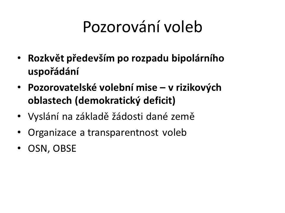 Pozorování voleb Rozkvět především po rozpadu bipolárního uspořádání Pozorovatelské volební mise – v rizikových oblastech (demokratický deficit) Vyslání na základě žádosti dané země Organizace a transparentnost voleb OSN, OBSE