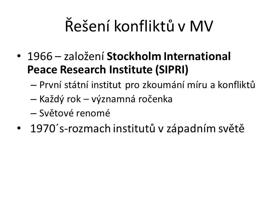 Řešení konfliktů v MV 1966 – založení Stockholm International Peace Research Institute (SIPRI) – První státní institut pro zkoumání míru a konfliktů – Každý rok – významná ročenka – Světové renomé 1970´s-rozmach institutů v západním světě
