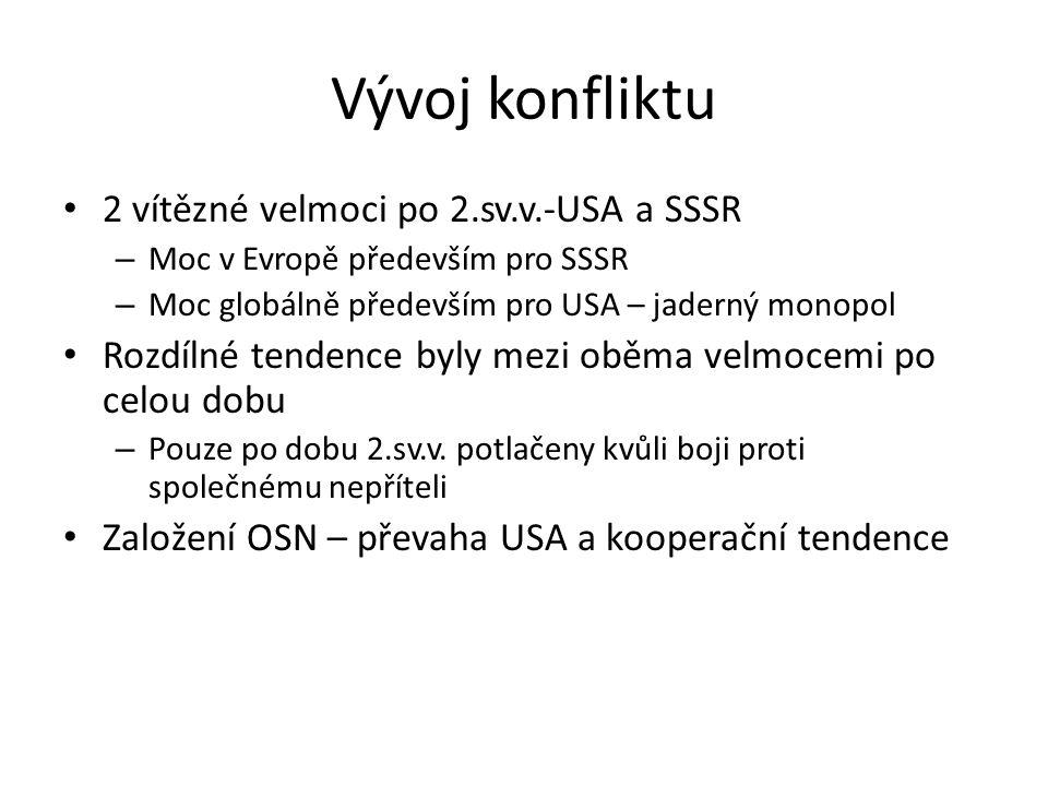 Vývoj konfliktu 2 vítězné velmoci po 2.sv.v.-USA a SSSR – Moc v Evropě především pro SSSR – Moc globálně především pro USA – jaderný monopol Rozdílné tendence byly mezi oběma velmocemi po celou dobu – Pouze po dobu 2.sv.v.