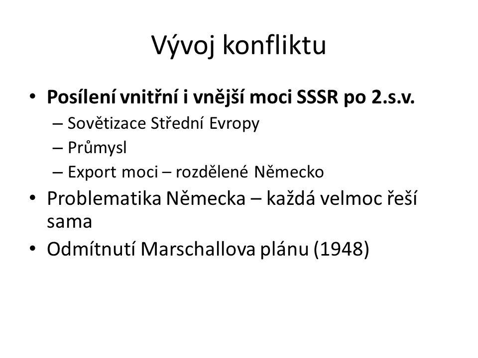 Vývoj konfliktu Posílení vnitřní i vnější moci SSSR po 2.s.v.