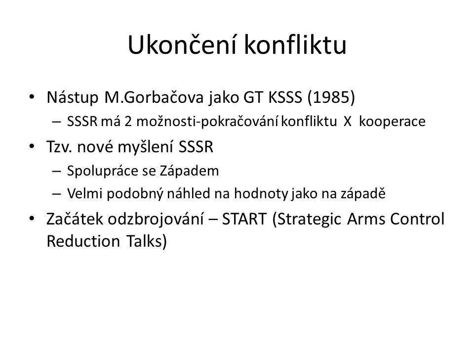 Ukončení konfliktu Nástup M.Gorbačova jako GT KSSS (1985) – SSSR má 2 možnosti-pokračování konfliktu X kooperace Tzv.