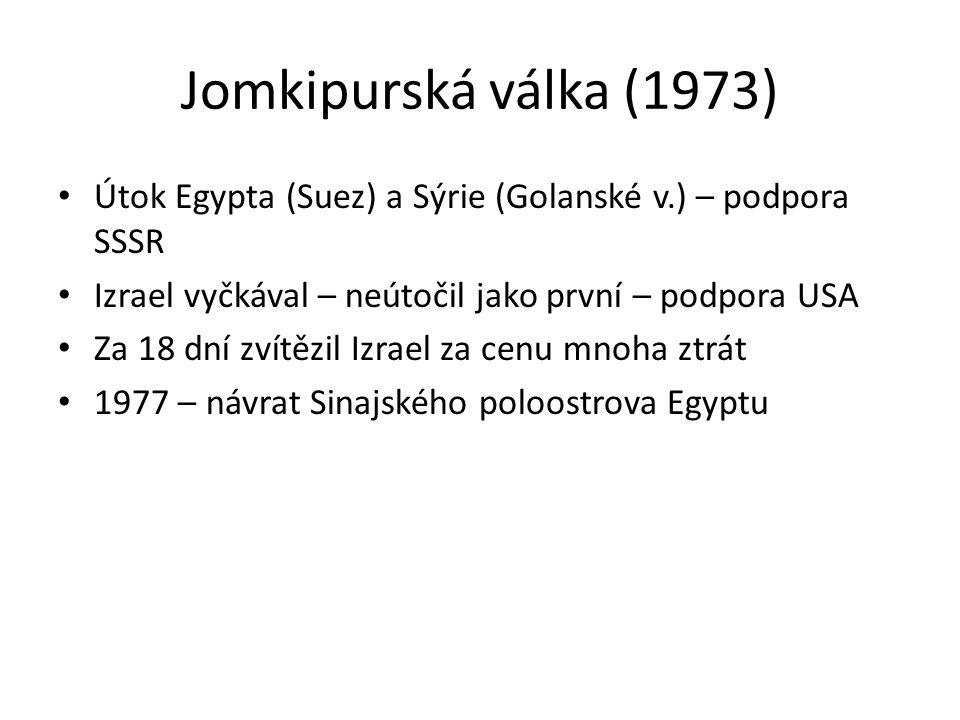 Jomkipurská válka (1973) Útok Egypta (Suez) a Sýrie (Golanské v.) – podpora SSSR Izrael vyčkával – neútočil jako první – podpora USA Za 18 dní zvítězil Izrael za cenu mnoha ztrát 1977 – návrat Sinajského poloostrova Egyptu