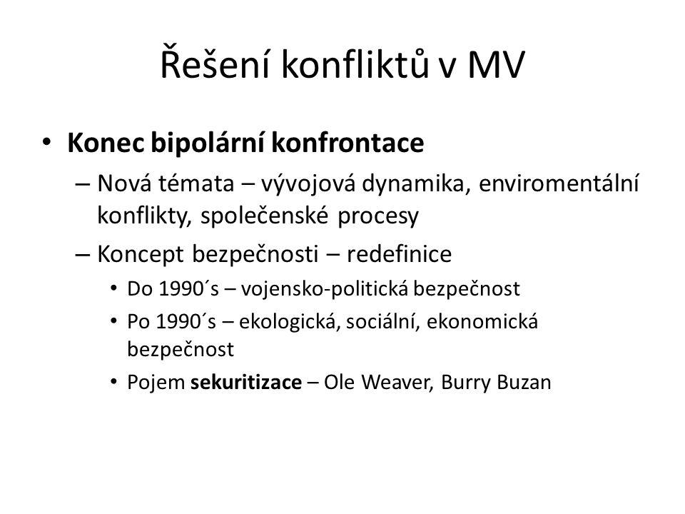 Řešení konfliktů v MV Konec bipolární konfrontace – Nová témata – vývojová dynamika, enviromentální konflikty, společenské procesy – Koncept bezpečnosti – redefinice Do 1990´s – vojensko-politická bezpečnost Po 1990´s – ekologická, sociální, ekonomická bezpečnost Pojem sekuritizace – Ole Weaver, Burry Buzan