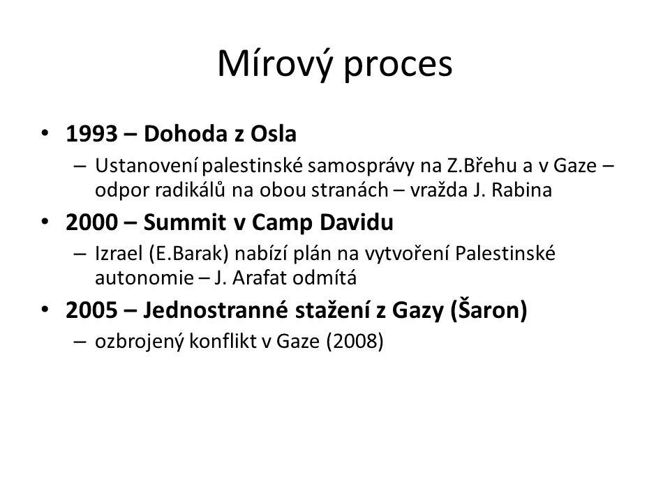 Mírový proces 1993 – Dohoda z Osla – Ustanovení palestinské samosprávy na Z.Břehu a v Gaze – odpor radikálů na obou stranách – vražda J.