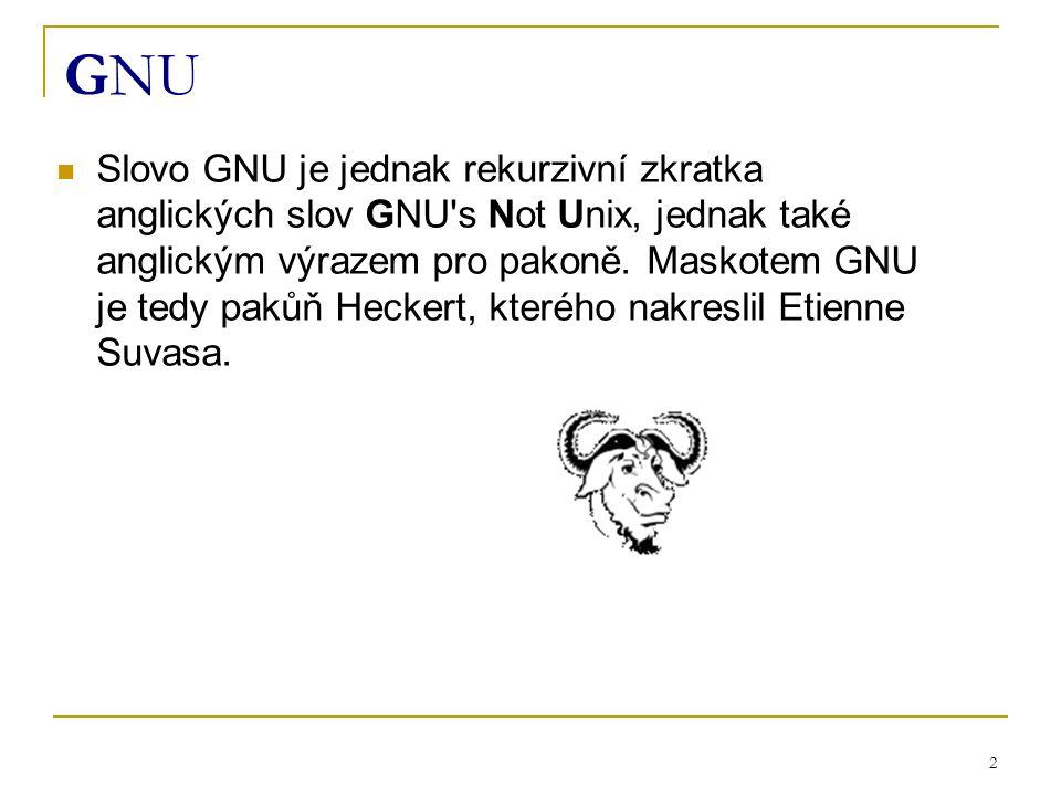 2 GNU Slovo GNU je jednak rekurzivní zkratka anglických slov GNU s Not Unix, jednak také anglickým výrazem pro pakoně.