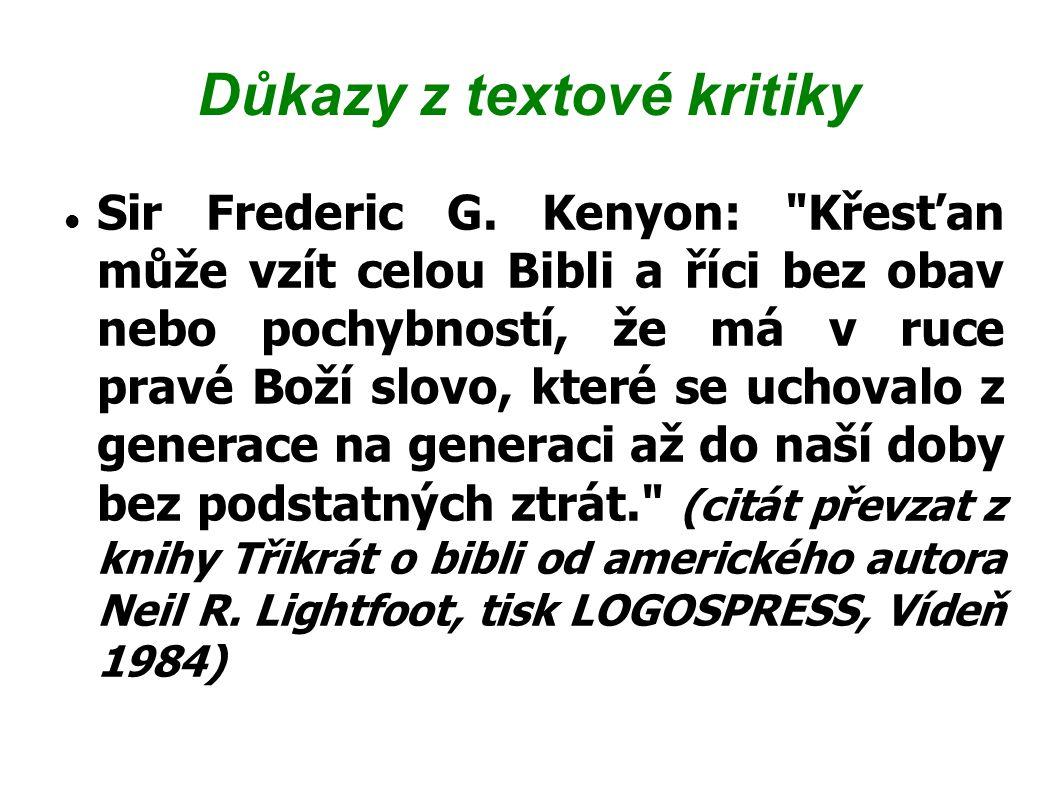 Důkazy z textové kritiky Sir Frederic G. Kenyon: