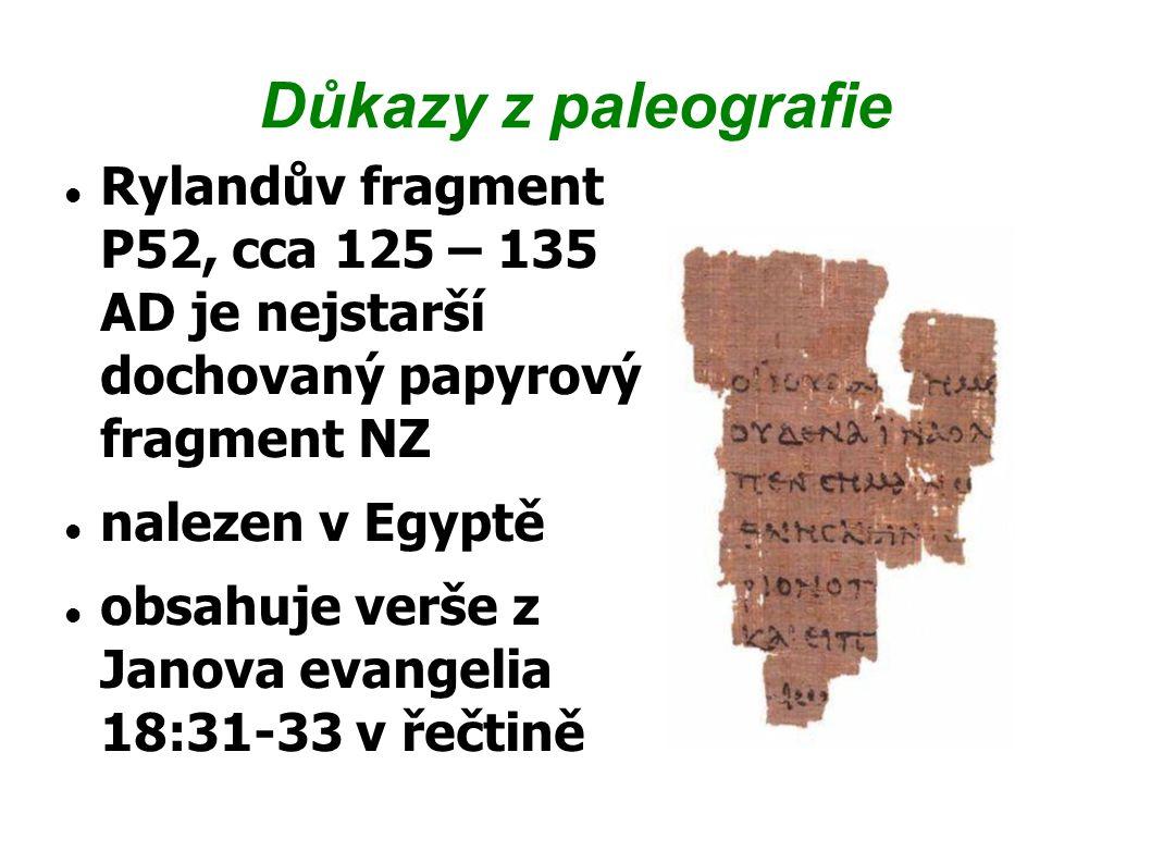 Důkazy z paleografie Rylandův fragment P52, cca 125 – 135 AD je nejstarší dochovaný papyrový fragment NZ nalezen v Egyptě obsahuje verše z Janova evan