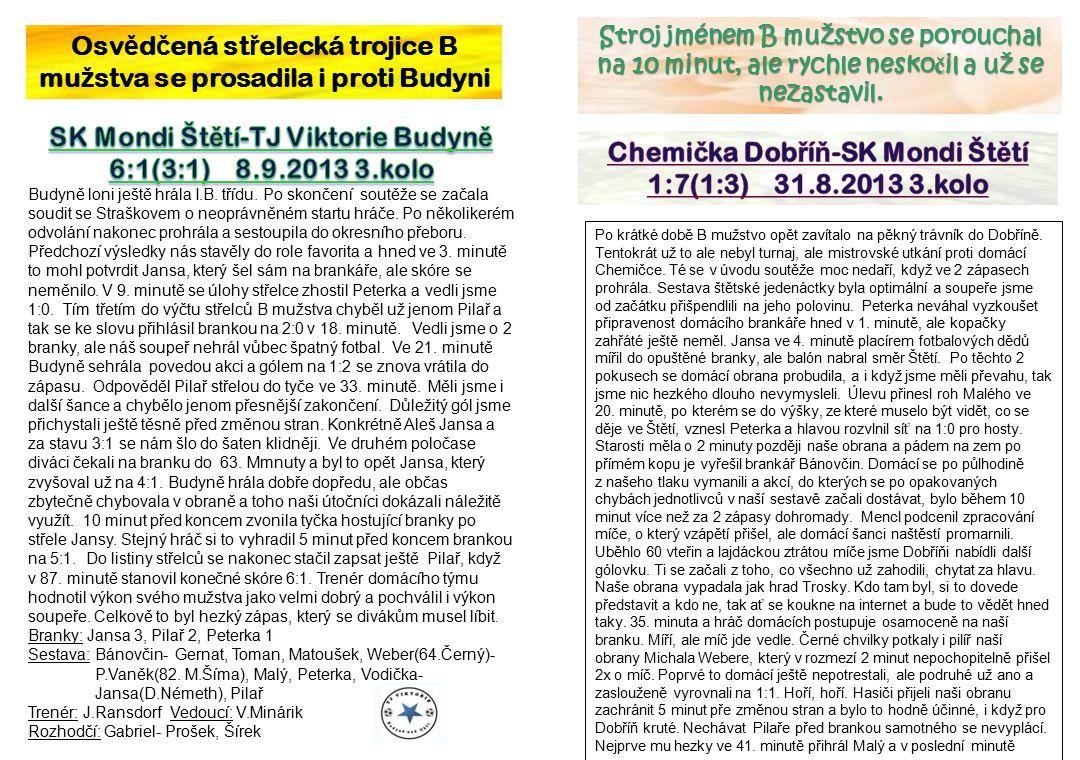 Osv ě d č ená st ř elecká trojice B mu ž stva se prosadila i proti Budyni Po krátké době B mužstvo opět zavítalo na pěkný trávník do Dobříně.