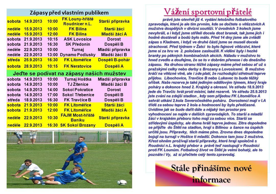 Stále p ř inášíme nové informace Zápasy před vlastním publikem sobota14.9.201310:00 FK Louny-hřiště Roudnicer n.L.