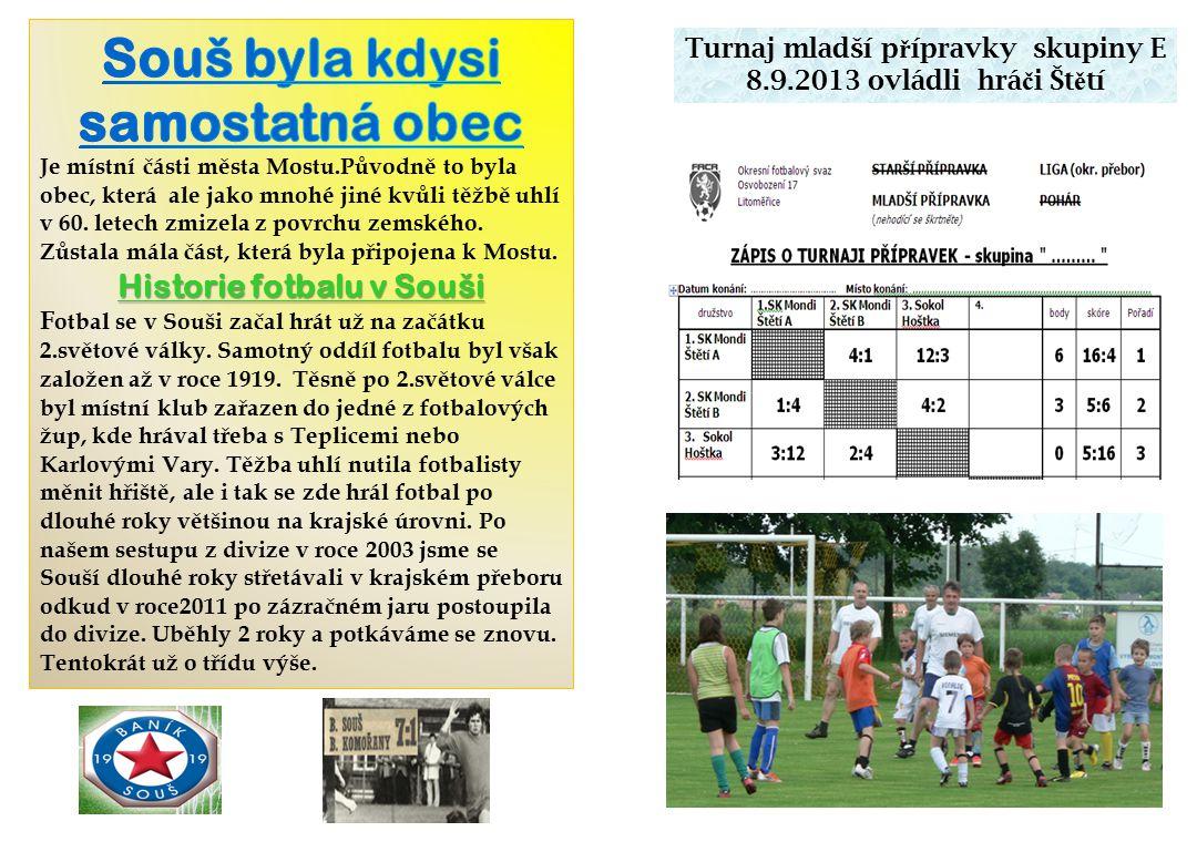 Turnaj mladší p ř ípravky skupiny E 8.9.2013 ovládli hrá č i Št ě tí