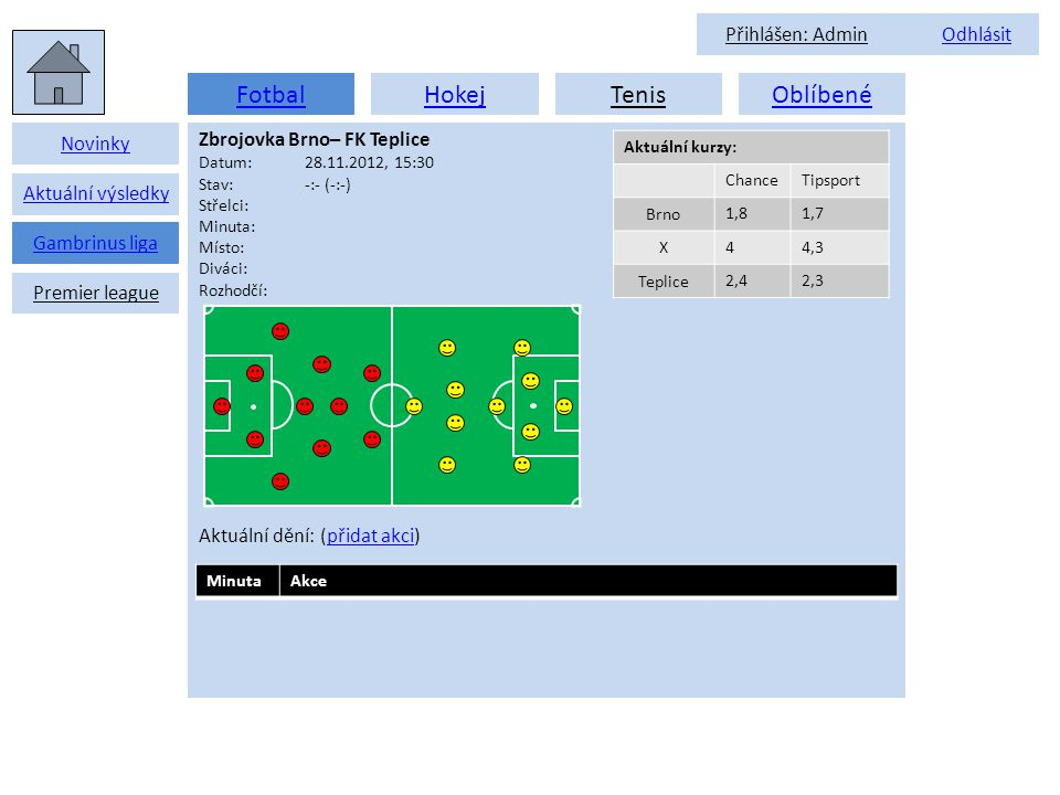 FotbalHokejTenisOblíbené Novinky Aktuální výsledky Zbrojovka Brno– FK Teplice Datum:28.11.2012, 15:30 Stav:-:- (-:-) Střelci: Minuta: Místo: Diváci: Rozhodčí: Aktuální dění: (přidat akci)přidat akci Gambrinus liga Premier league Aktuální kurzy: ChanceTipsport Brno 1,81,7 X 44,3 Teplice 2,42,3 MinutaAkce Přihlášen: Admin OdhlásitOdhlásit