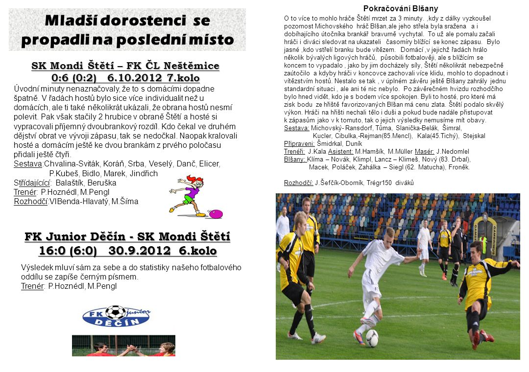 Starší i mladší dorostenci tabulky Pohled trenéra Blšan Josefa Němce na zápas se Štětím: Zápas se vlastně rozhodl v prvních 15ti minutách.
