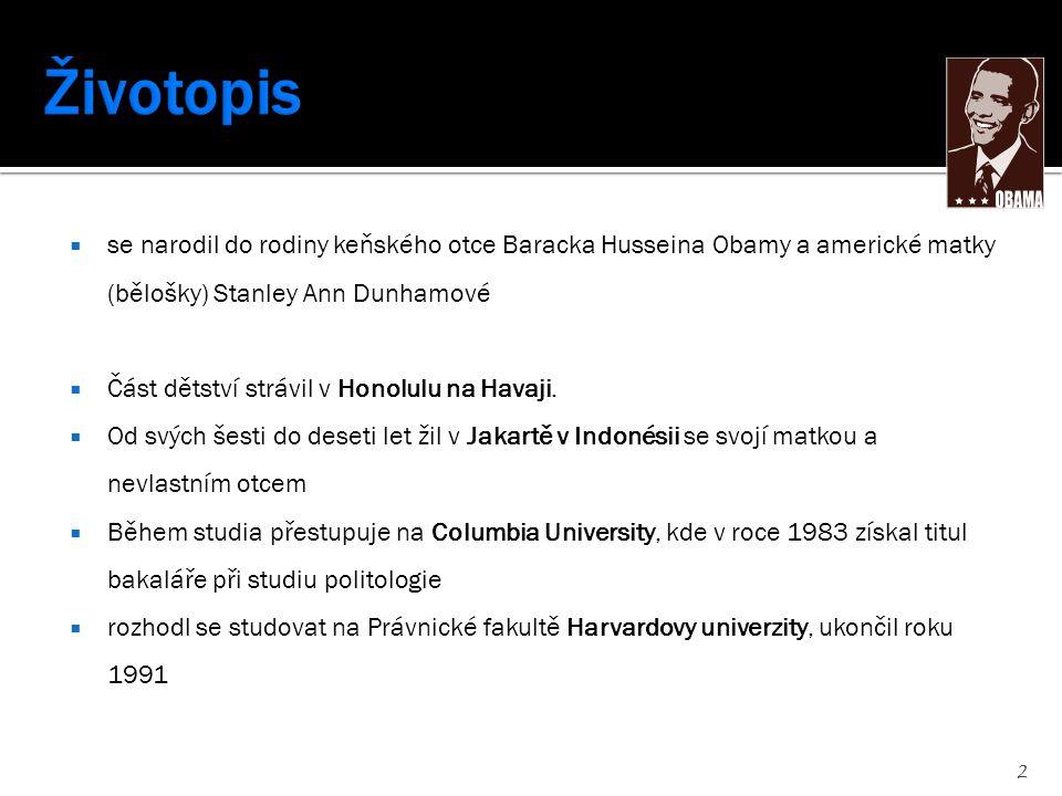  se narodil do rodiny keňského otce Baracka Husseina Obamy a americké matky (bělošky) Stanley Ann Dunhamové  Část dětství strávil v Honolulu na Hava