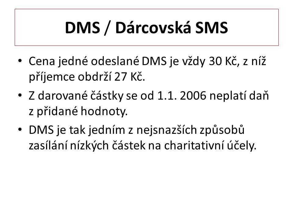 DMS / Dárcovská SMS Cena jedné odeslané DMS je vždy 30 Kč, z níž příjemce obdrží 27 Kč.