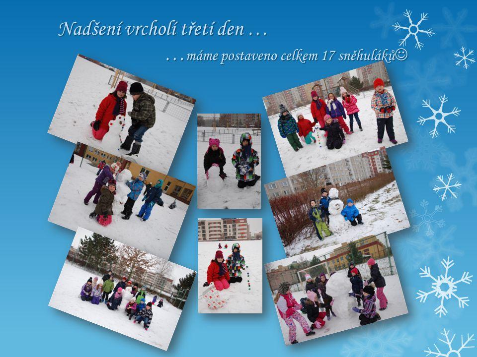 Nadšení vrcholí třetí den … … máme postaveno celkem 17 sněhuláků Nadšení vrcholí třetí den … … máme postaveno celkem 17 sněhuláků