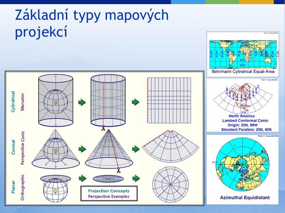 17 Základní typy mapových projekcí