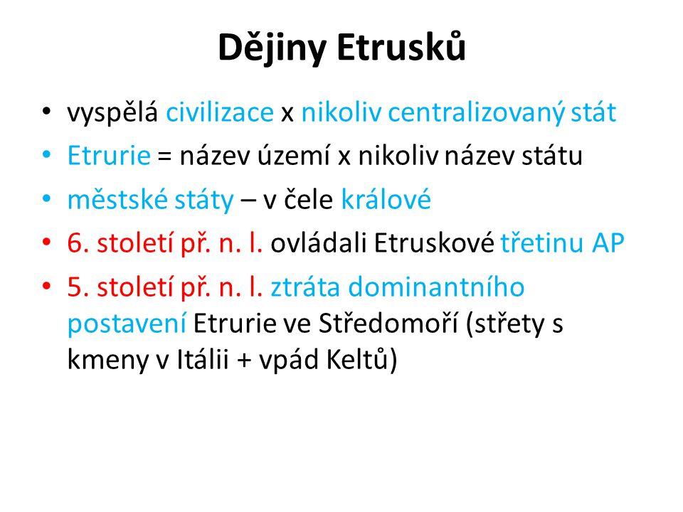 Dějiny Etrusků vyspělá civilizace x nikoliv centralizovaný stát Etrurie = název území x nikoliv název státu městské státy – v čele králové 6. století
