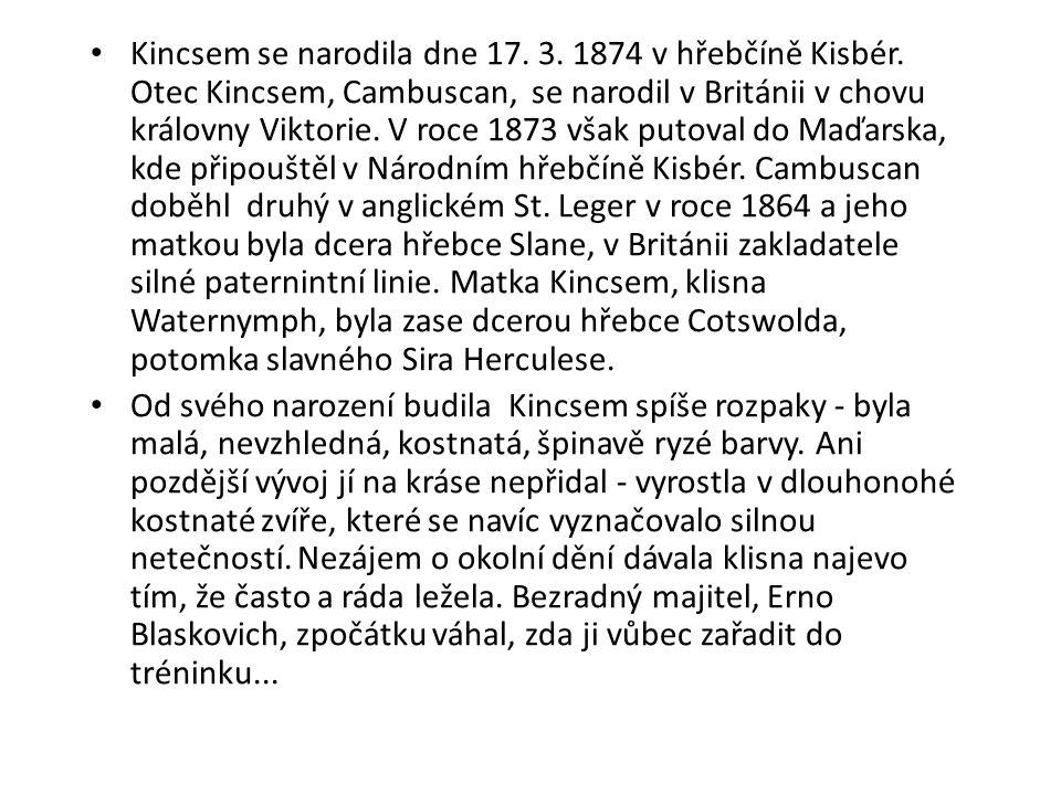 Kincsem se narodila dne 17. 3. 1874 v hřebčíně Kisbér. Otec Kincsem, Cambuscan, se narodil v Británii v chovu královny Viktorie. V roce 1873 však puto