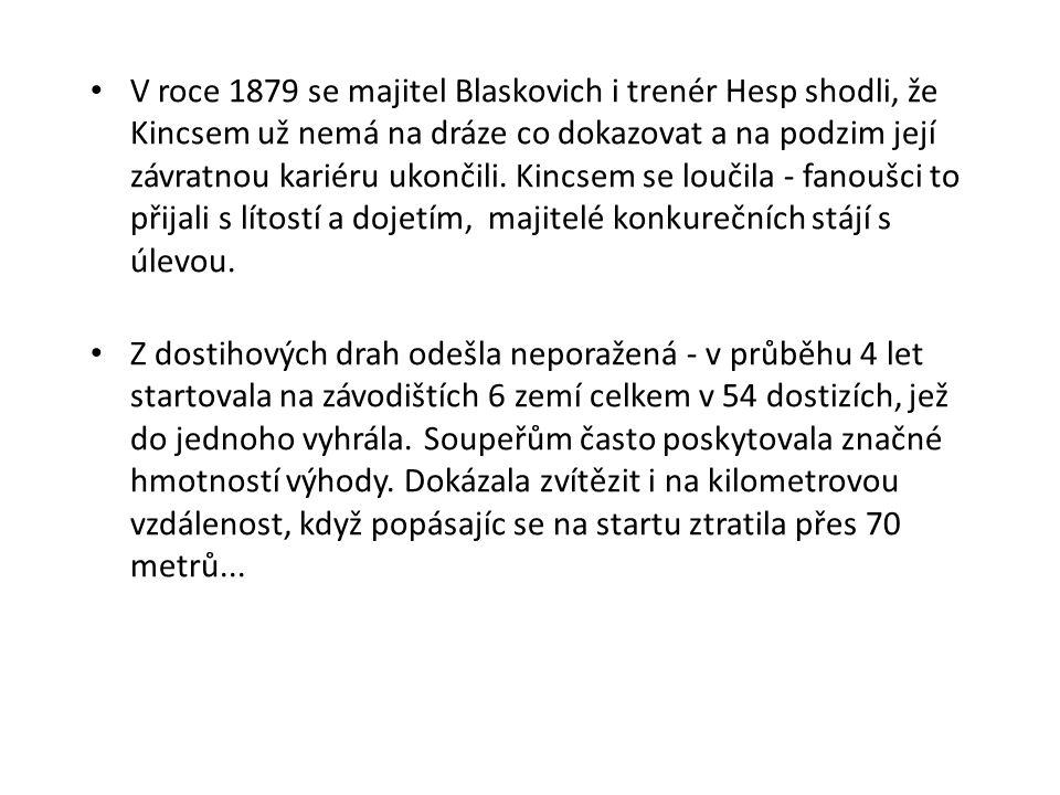 V roce 1879 se majitel Blaskovich i trenér Hesp shodli, že Kincsem už nemá na dráze co dokazovat a na podzim její závratnou kariéru ukončili. Kincsem