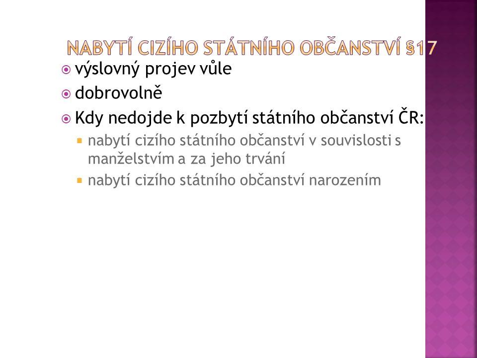  výslovný projev vůle  dobrovolně  Kdy nedojde k pozbytí státního občanství ČR:  nabytí cizího státního občanství v souvislosti s manželstvím a za