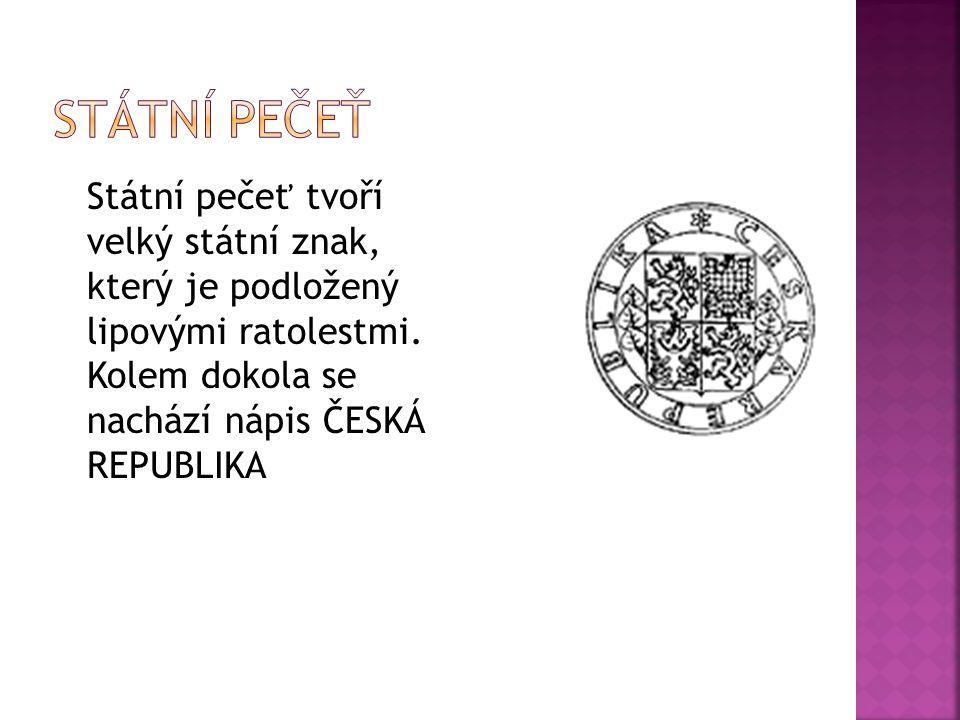 Státní pečeť tvoří velký státní znak, který je podložený lipovými ratolestmi. Kolem dokola se nachází nápis ČESKÁ REPUBLIKA