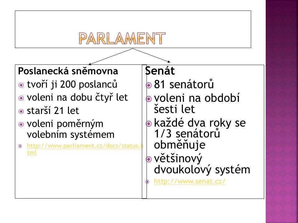 Poslanecká sněmovna  tvoří ji 200 poslanců  voleni na dobu čtyř let  starší 21 let  voleni poměrným volebním systémem  http://www.parliament.cz/d