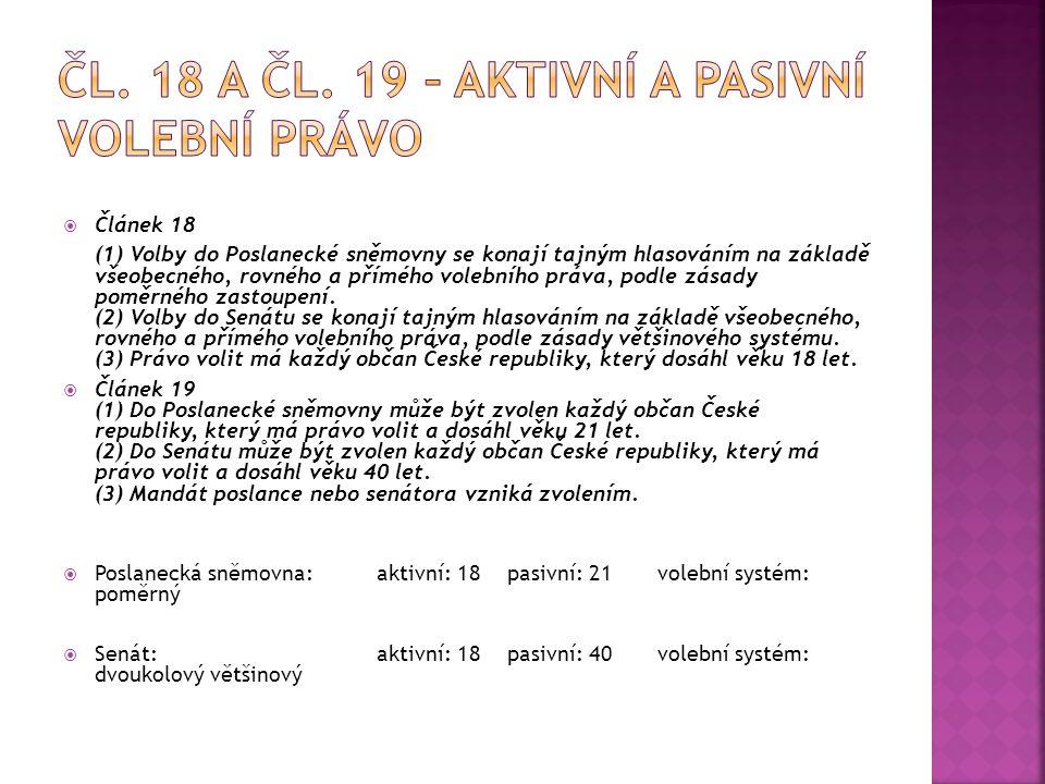  Článek 18 (1) Volby do Poslanecké sněmovny se konají tajným hlasováním na základě všeobecného, rovného a přímého volebního práva, podle zásady poměr