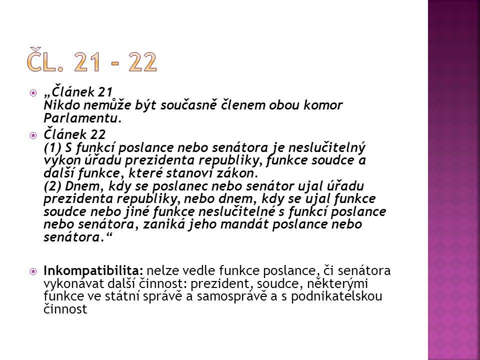""" """"Článek 21 Nikdo nemůže být současně členem obou komor Parlamentu.  Článek 22 (1) S funkcí poslance nebo senátora je neslučitelný výkon úřadu prezi"""