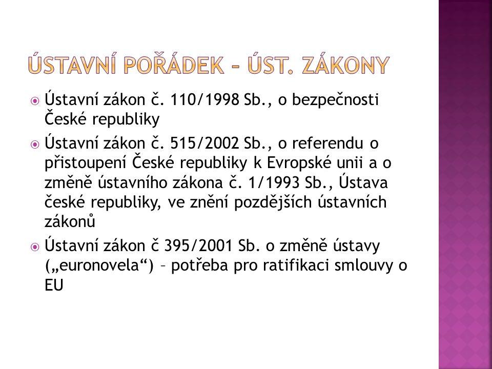  Ústavní zákon č. 110/1998 Sb., o bezpečnosti České republiky  Ústavní zákon č. 515/2002 Sb., o referendu o přistoupení České republiky k Evropské u