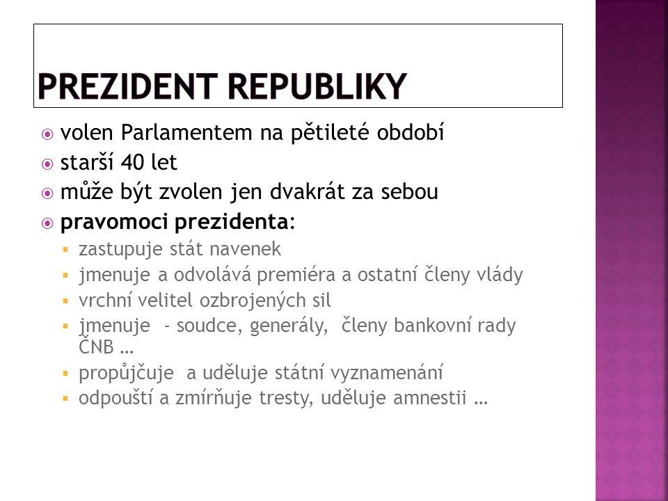  volen Parlamentem na pětileté období  starší 40 let  může být zvolen jen dvakrát za sebou  pravomoci prezidenta:  zastupuje stát navenek  jmenu