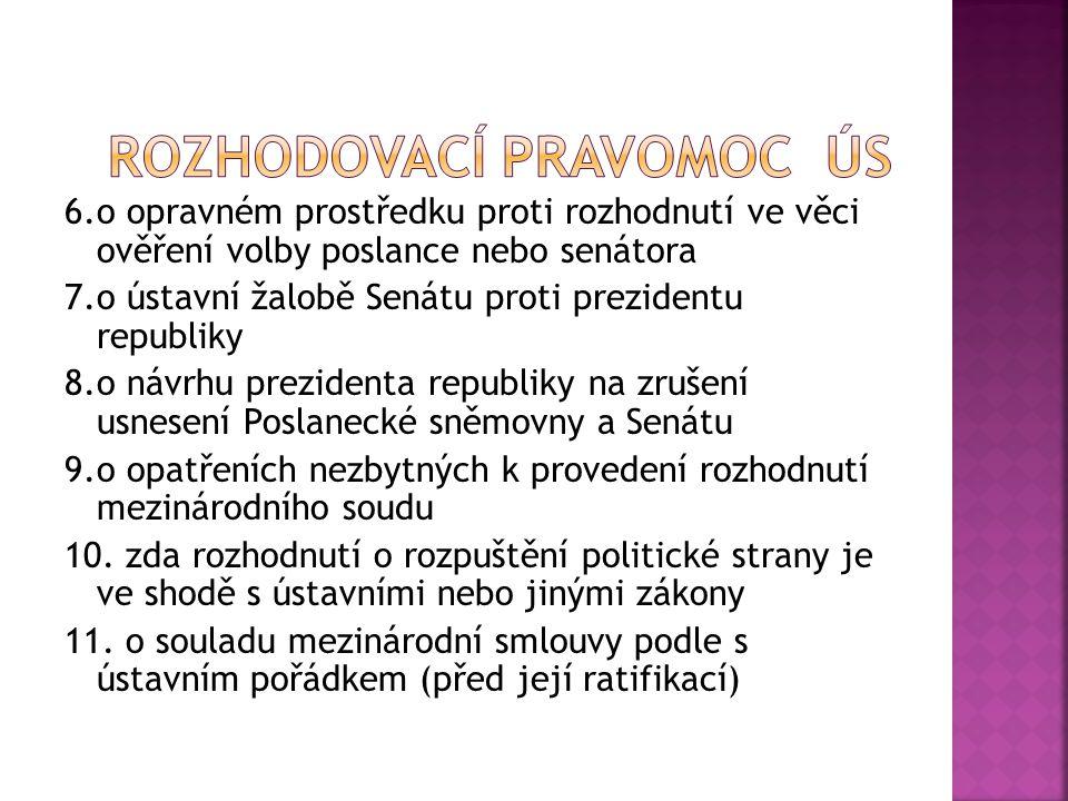 6.o opravném prostředku proti rozhodnutí ve věci ověření volby poslance nebo senátora 7.o ústavní žalobě Senátu proti prezidentu republiky 8.o návrhu