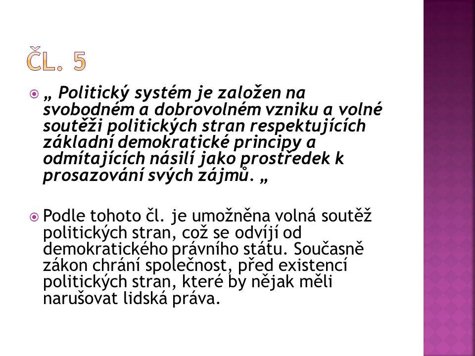 """ """" Politický systém je založen na svobodném a dobrovolném vzniku a volné soutěži politických stran respektujících základní demokratické principy a od"""