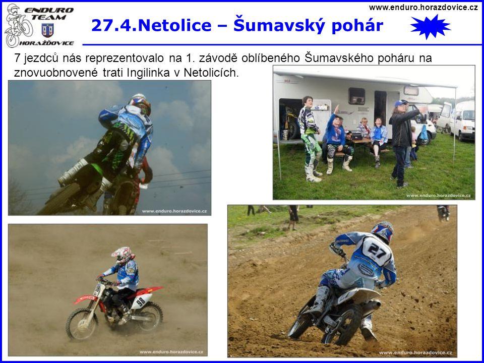 www.enduro.horazdovice.cz 27.4.Netolice – Šumavský pohár 7 jezdců nás reprezentovalo na 1. závodě oblíbeného Šumavského poháru na znovuobnovené trati