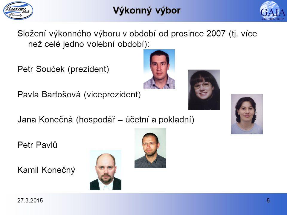 27.3.20155 Výkonný výbor Složení výkonného výboru v období od prosince 2007 (tj. více než celé jedno volební období): Petr Souček (prezident) Pavla Ba