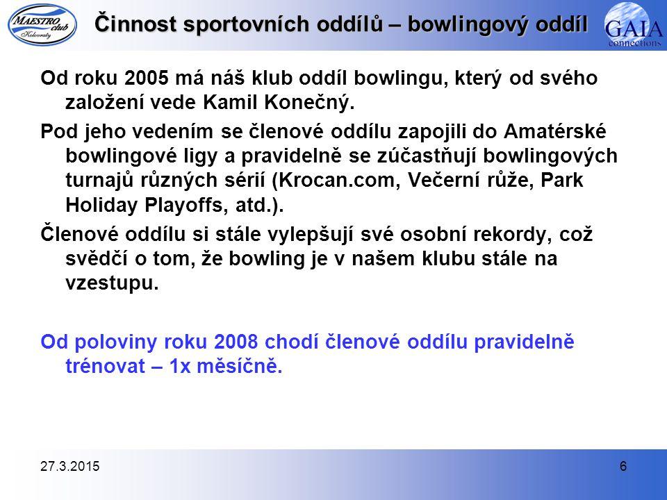 27.3.20156 Činnost sportovních oddílů – bowlingový oddíl Od roku 2005 má náš klub oddíl bowlingu, který od svého založení vede Kamil Konečný. Pod jeho