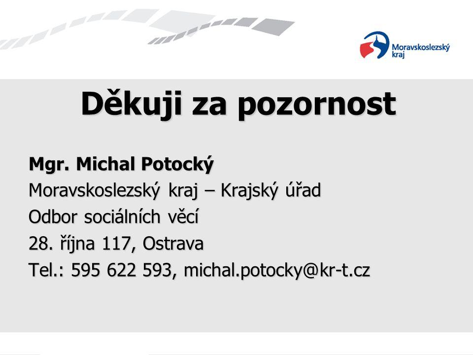 Děkuji za pozornost Mgr. Michal Potocký Moravskoslezský kraj – Krajský úřad Odbor sociálních věcí 28. října 117, Ostrava Tel.: 595 622 593, michal.pot