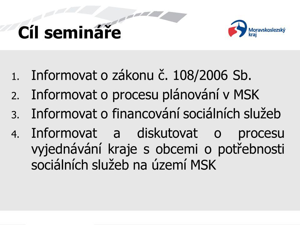 Cíl semináře 1. Informovat o zákonu č. 108/2006 Sb. 2. Informovat o procesu plánování v MSK 3. Informovat o financování sociálních služeb 4. Informova