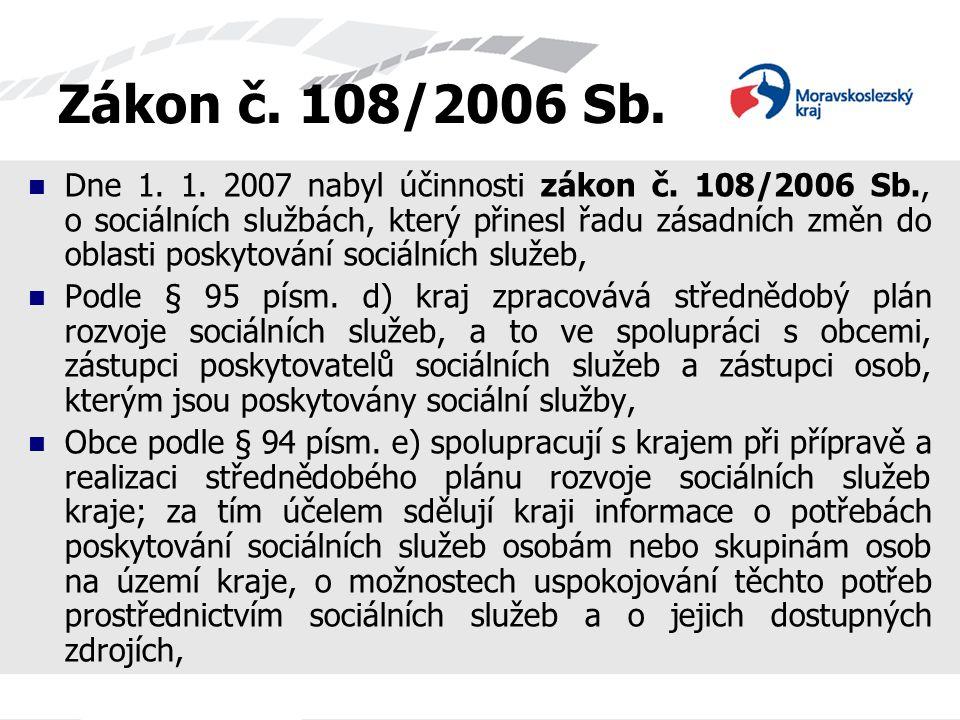 Zákon č. 108/2006 Sb. Dne 1. 1. 2007 nabyl účinnosti zákon č. 108/2006 Sb., o sociálních službách, který přinesl řadu zásadních změn do oblasti poskyt