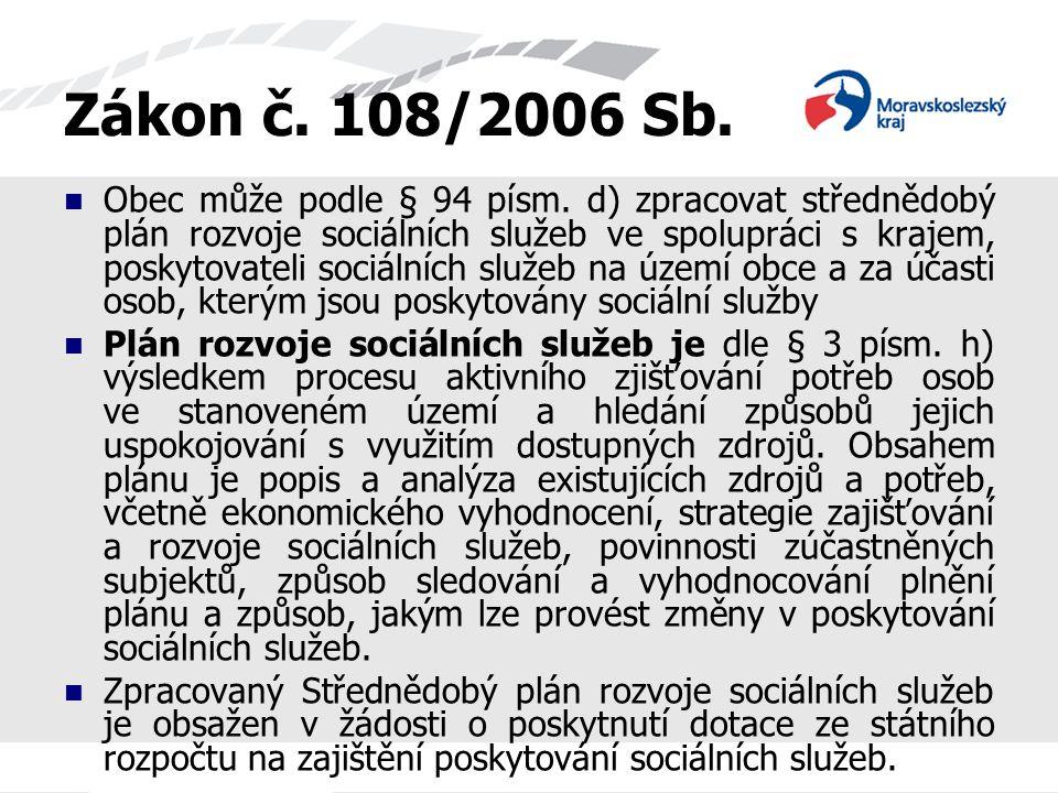 Zákon č. 108/2006 Sb. Obec může podle § 94 písm. d) zpracovat střednědobý plán rozvoje sociálních služeb ve spolupráci s krajem, poskytovateli sociáln