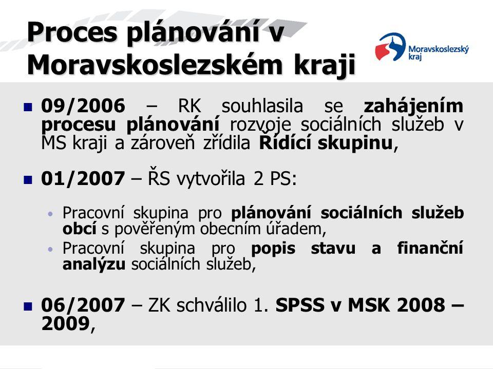 08/2007 – ŘS ukončila činnost PS pro popis stavu a finanční analýzu sociálních služeb, a vytvořila 2 nové PS: PS pro kvalitu sociálních služeb v MSK, PS pro tvorbu systému financování sociálních služeb v MSK, Proces plánování v Moravskoslezském kraji